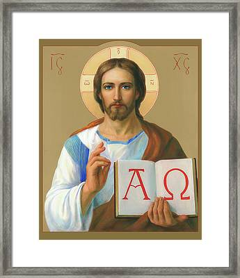 Framed Print featuring the painting Jesus Christ - Alpha And Omega by Svitozar Nenyuk