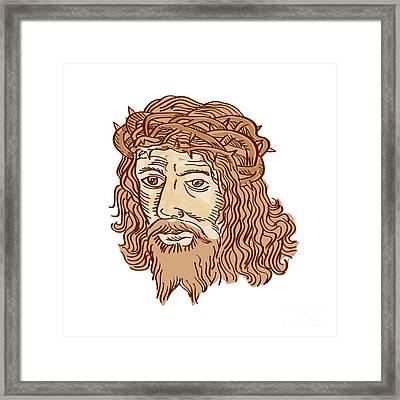 Jesus Christ Face Crown Thorns Etching Framed Print by Aloysius Patrimonio