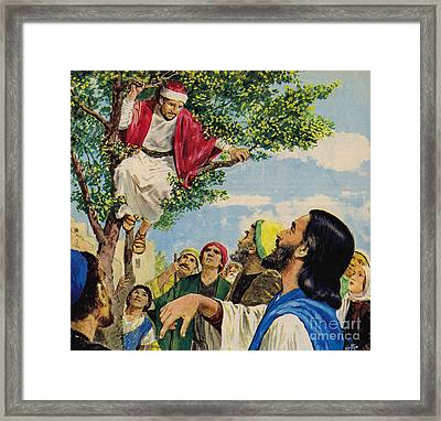 Jesus Christ Forgives A Thief Framed Print by Clive Uptton