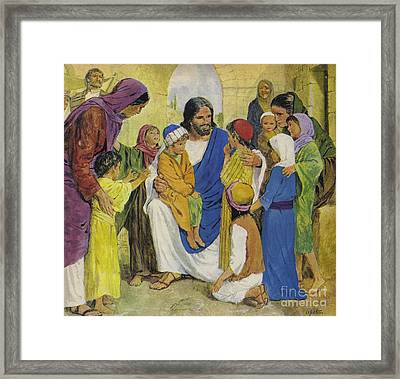 Jesus Christ, He Loved Children Framed Print by Clive Uptton