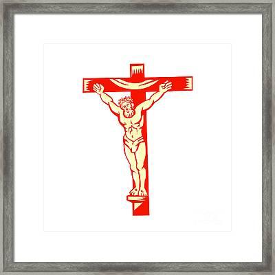 Jesus Christ On Cross Woodcut Framed Print