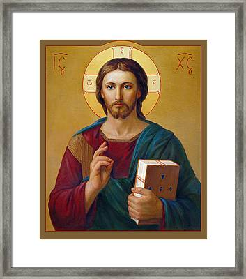 Framed Print featuring the painting Jesus Christ Pantocrator by Svitozar Nenyuk