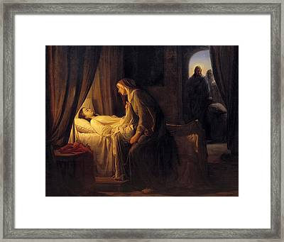 Jesus Christ Raising Daughter Of Jairus Framed Print by Carl Bloch