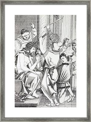 Jesus Christ Tormented And Crowned With Framed Print by Vintage Design Pics
