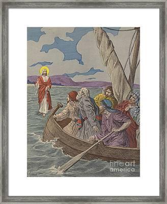 Jesus Christ Walking On The Waters Framed Print
