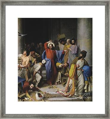 Jesus Cleansing The Temple Framed Print by Celestial Images