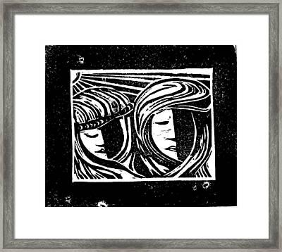 Jesus Comforts The Women Framed Print by Lars Lindgren