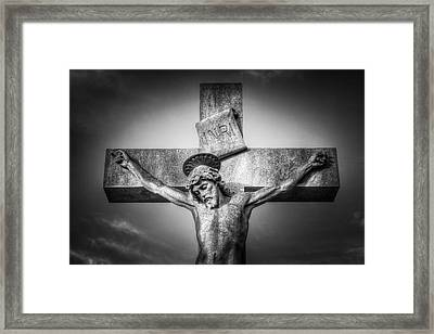 Jesus Cross Statue Framed Print by David Pyatt