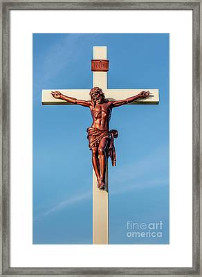 Jesus Crucifix Against The Sky 3 Framed Print by Gary Whitton