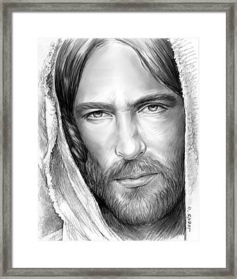 Jesus Face Framed Print by Greg Joens