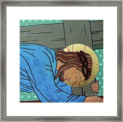 Jesus Falls Framed Print