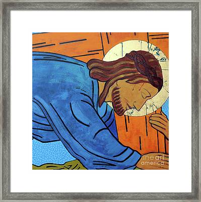 Jesus Falls Under The Cross Framed Print