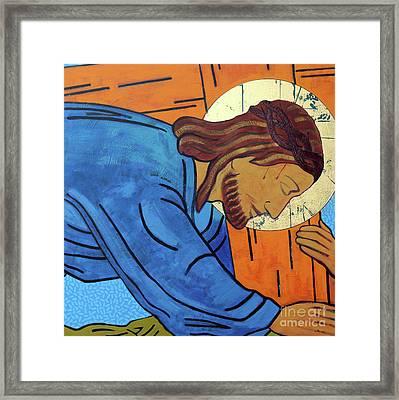 Jesus Falls Under The Cross Framed Print