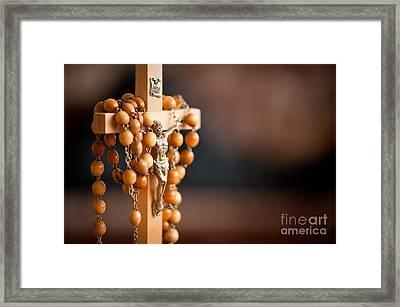 Jesus Figurine And Rosary Framed Print
