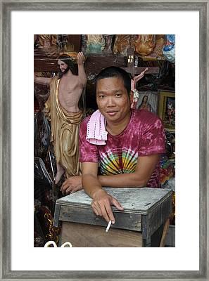Jesus For Sale Framed Print by Jez C Self
