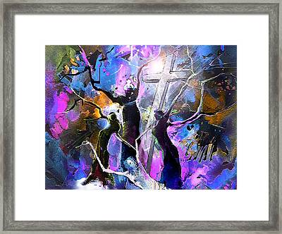 Jesus From Cross Framed Print by Miki De Goodaboom