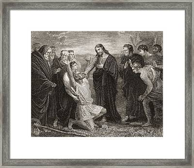Jesus Healing The Blind. From A 19th Framed Print