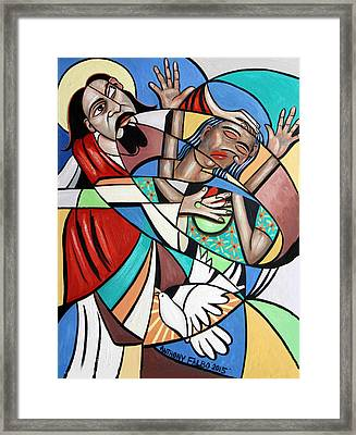 Jesus Heals The Brokenhearted Framed Print by Anthony Falbo