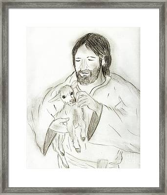 Jesus Holding Lamb Framed Print by Sonya Chalmers