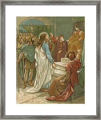 Jesus In Front Of Pilate Framed Print