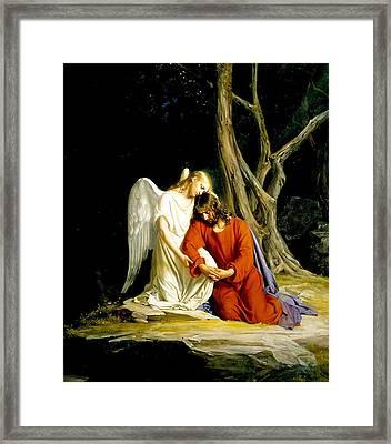Jesus In Gethsemane Framed Print by Carl Heinrich Bloch