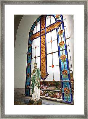 Jesus In The Church Window And School Girls In The Background Framed Print by Sven Brogren