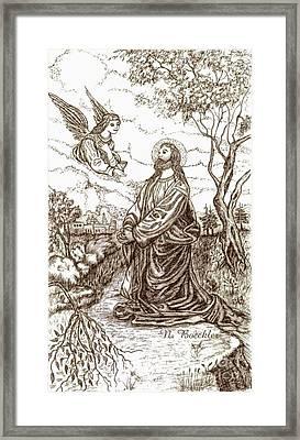 Jesus In The Garden Of Gethsemane Framed Print by Norma Boeckler