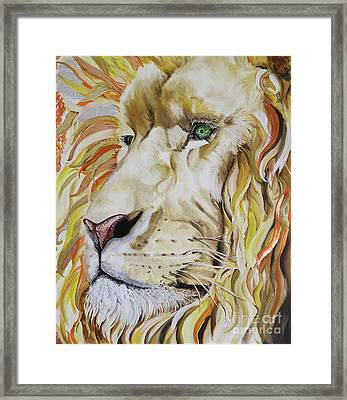 Jesus Is Worthy - The Lion Of Judah Framed Print by Sonia Farrell