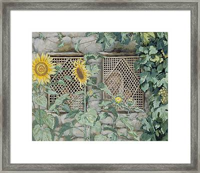 Jesus Looking Through A Lattice With Sunflowers Framed Print