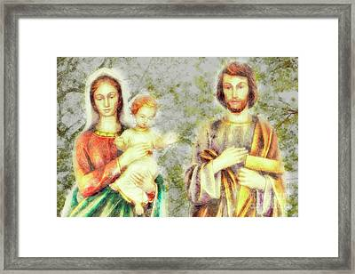 Jesus, Mary, And Joseph, We Love You, Save Families Framed Print