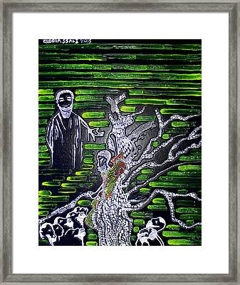 Jesus Meets Zacchaeus Framed Print by Gloria Ssali