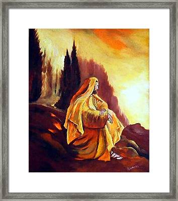 Jesus On The Mountain Framed Print by Julie Lamons
