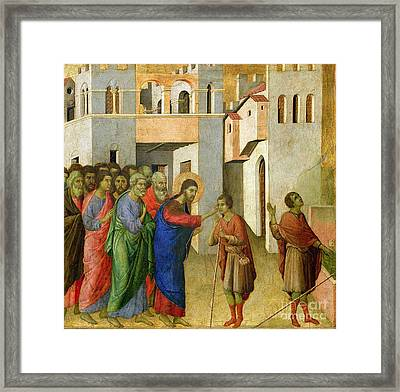 Jesus Opens The Eyes Of A Man Born Blind Framed Print by Duccio di Buoninsegna