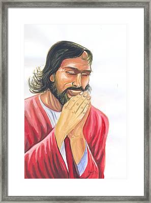 Jesus Praying Framed Print by Emmanuel Baliyanga