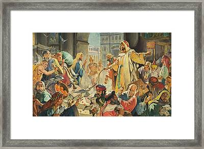 Jesus Removing The Money Lenders From The Temple Framed Print by James Edwin McConnell
