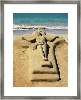 Jesus Sand Sculpture Framed Print