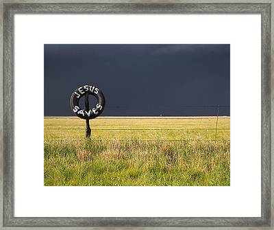 Jesus Saves And Dark Storm Approaching Framed Print by Scott Hales