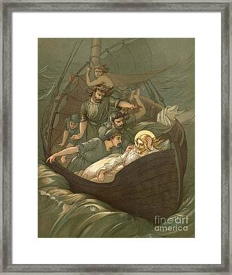 Jesus Sleeping During The Storm Framed Print by John Lawson