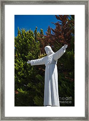 Jesus Statue And Pine Trees Framed Print