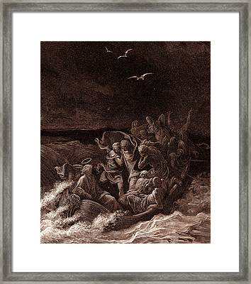 Jesus Stilling The Tempest Framed Print by Gustave Dore