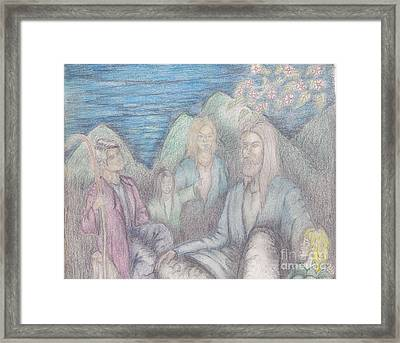 Jesus Teaching The Children Framed Print by Thomas Higdon