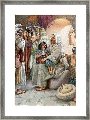 Jesus Teaching The People Framed Print by Arthur A Dixon