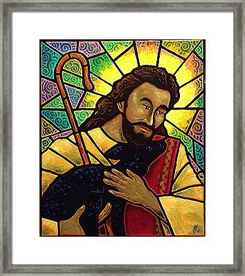 Framed Print featuring the painting Jesus The Good Shepherd by Jim Harris