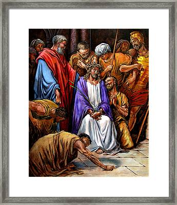 Jesus Tormented Framed Print by John Lautermilch