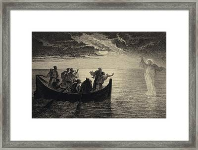 Jesus Walking On The Sea Framed Print by Albert Robida