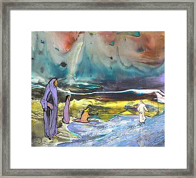 Jesus Walking On The Water Framed Print by Miki De Goodaboom