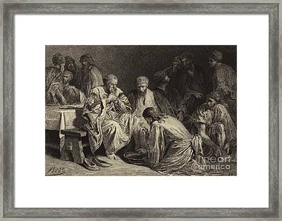 Jesus Washing The Disciples' Feet Framed Print by Albert Robida