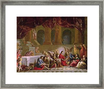 Jesus Washing The Disciples Feet  Framed Print by Claude Vignon