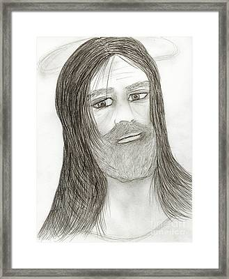 Jesus With Halo Framed Print by Sonya Chalmers