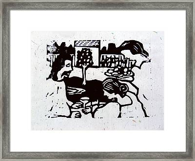 Jesus With Mary And Martha II Framed Print by Adam Kissel